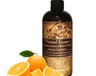 Orange Tangerine Moisturizing Body Wash, Organic Body wash, all natural body wash, sulfate free body wash, gentle body wash for dry skin