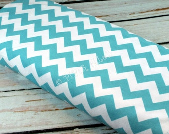 Flannel Fabric, Medium Chevron Aqua, by the Half Yard - Riley Blake - Turquoise Blue, Soft, DIY Rag Quilts