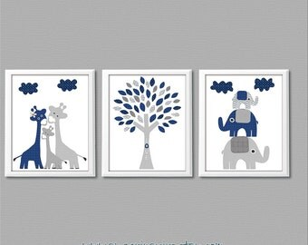 Navy and grey Nursery Art Print Set, Kids Room Decor - Baby boy wall art, Giraffe family, baby elephant, elephant family, tree -UNFRAMED