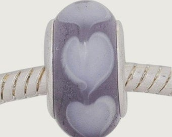 European Style Bead Charm for European Bracelet, Murano Glass, Silver Cores, Purple with Hearts ~ Summer Collection