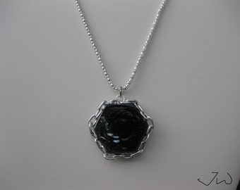 Black Glass necklace with Chain