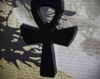 Large Black Ankh Necklace