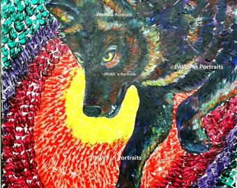 PAWS'nPortraits - Black Timber Wolf - Original - 16x20x1.5 canvas - FREE Shipping