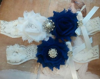 Wedding Garter, Bridal Garter - Something Blue (White/Royal Blue Flowers) with Pearl & Rhinestone - Style G2504