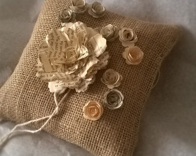 Book Page Rose , Burlap Ring Bearer Pillow , Made to order, Free Shipping