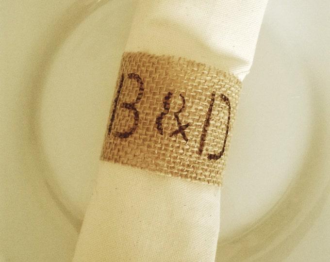 Personalised Burlap Wedding Napkin Rings, 80 Napkin Rings, Table Decor,Made to Order