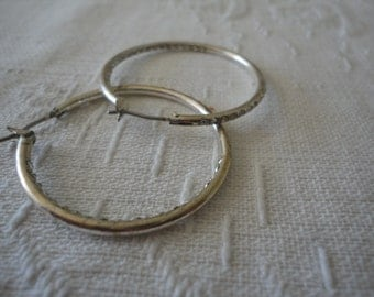 Silver Tone Metal Clear Rhinestone Hoop Earrings Vintage Ladies