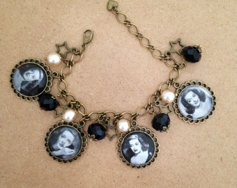 Bette Davis charm bracelet - Handmade, Unique.