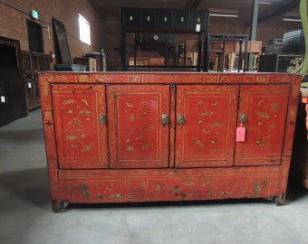 Antique Chinese Storage Credenza or Console in Lacquered Red (Los Angeles)