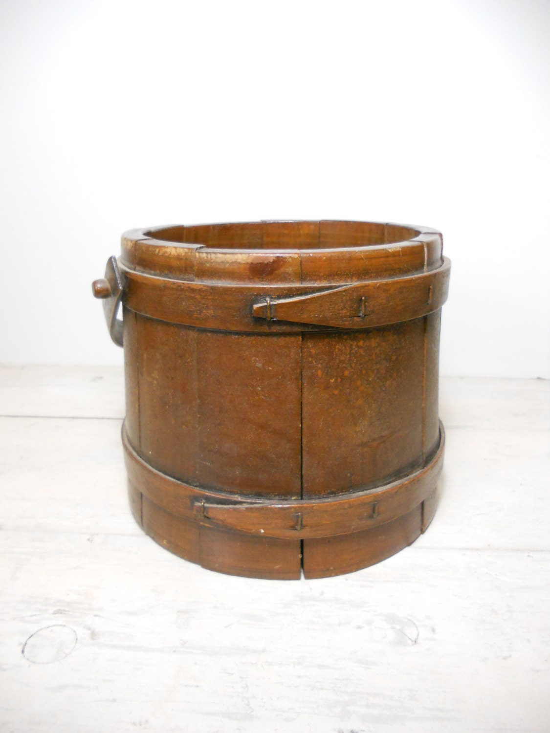 Antique Firkin With Handle Wood Bucket