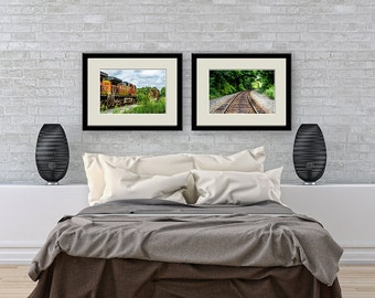 Railroad Photograph Print Set,Train Tracks and Train Fine Art PrintSet,  Railroad Landscape Photography, Rustic Decor, Railroad Decor