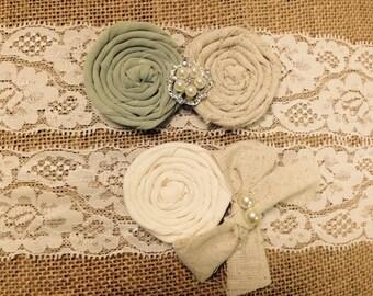 Rustic wedding garter, green garter