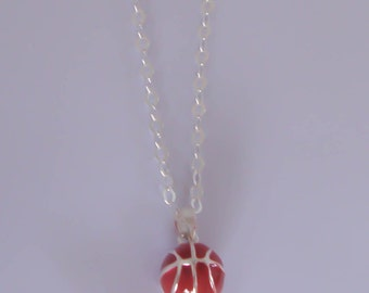 Sterling Silver Basketball Charm Necklace