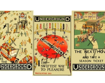 Set of 3 11x17 inch Vintage London Underground Posters (233895872)