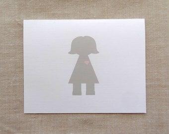 Baby Shower Girl  Greeting Card-   Baby Girl Note Card - Birthday Girl Card - Happy Birthday Girl Card - Girl Birthday Card