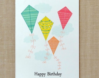 Kite Birthday Card - Kid's Happy Birthday Card - Chidlren's Birthday Card - Thank You Birthday Card - Blank Bithday Card  - Note Card