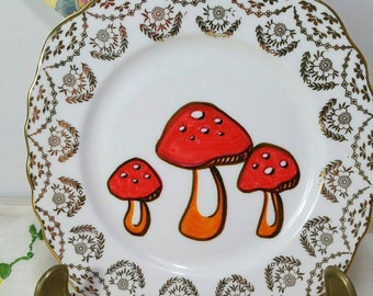 Hand painted Vintage tea plate with toadstool design. Up cycled. PP001