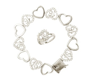 Sterling Silver Sweet 16 Dancing Hearts Bracelet and Ring Set (Free Shipping)
