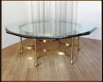 60s Mid Century Hollywood Regency Mastercraft Circle Coffee Table Brass & Glass