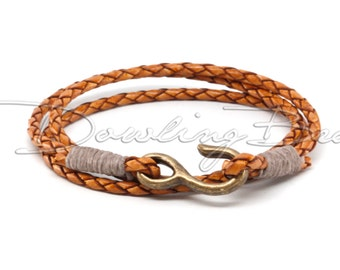 Natural Light Brown Braided Leather Brass Hook Cuff Bracelet