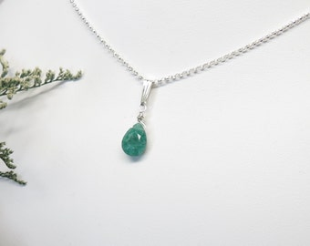 Emerald Necklace, Gemstone Necklace In Sterling Silver, May Birthstone Necklace, Green Gemstone, Emerald Pendant, 16-18.5 Inches Length