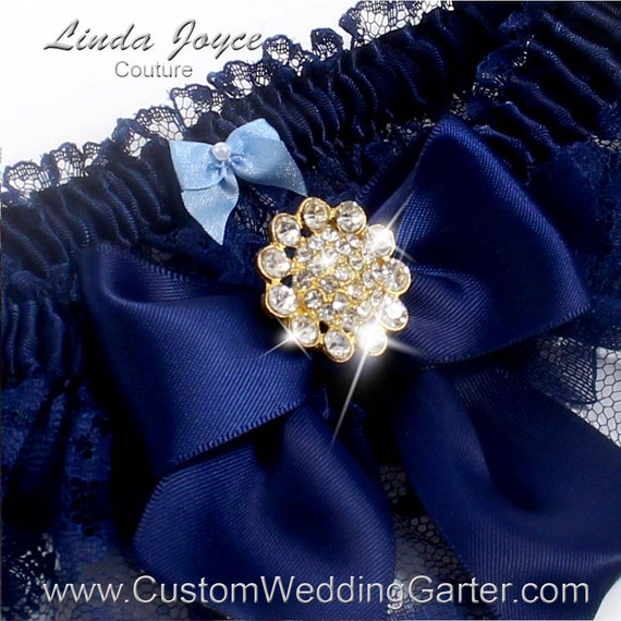 Navy Blue Wedding Garters Bridal Garter By CustomWeddingGarter