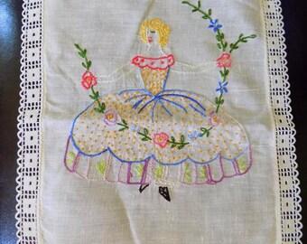 Vintage Girl Dish Towel