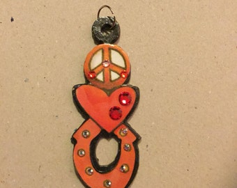 Peace and Love Metal Charm