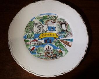 Virginia Souvenir Plate Mid Century 1960s