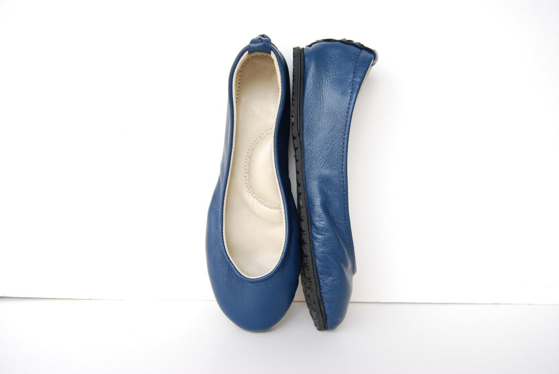 navy blue leather ballerina flat shoes custom made