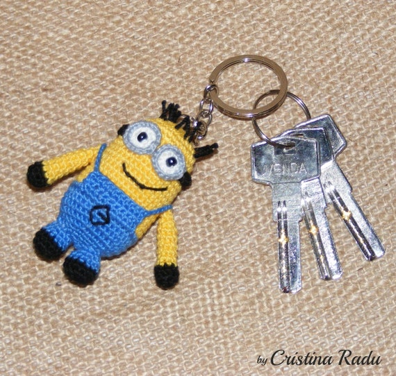 Amigurumi Keychain Loop : Minion Despicable Me keychain minion with two eyes by ...
