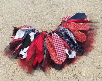 Navy and Red Cowgirl tutu cowgirl skirt, red bandana tutu, cowgirl birthday Tutu, Double layer, shabby chic fabric tutu skirt