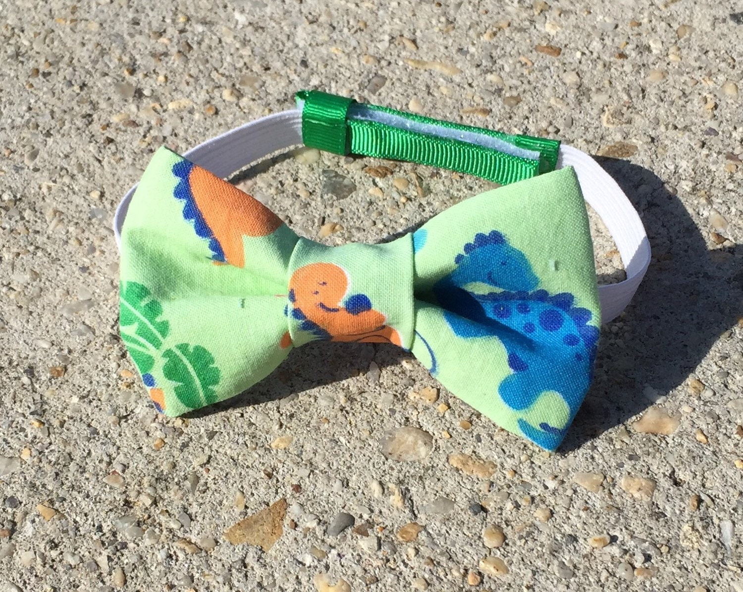 dinosaur bow tie green tie clip on infant tie by