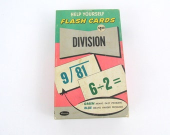 Vintage Flash Cards / Large Division Flash Cards by Whitman Publishing Co. 1959