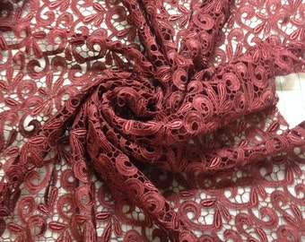 "Burgundy Venice Lace Fabric 39"" wide for bridal & crafts"