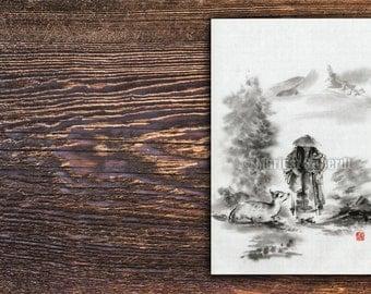 Zen Artwork Zenga Japanese Zen Art Buddhist Art Buddha Painting Ink Drawing Watercolor Art