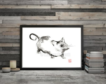 Rat Painting Animal Art Chinese Zodiac Home Decor Abstract Zen Artwork