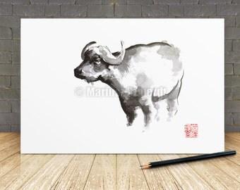 Chinese Zodiac Buffalo Asian Style Painting Sumie Art Zen Artwork Abstract Style