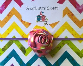 Polka Dot Rosette flower Infant/Children's Headband: Satin rosette flower rested On a skinny stretch headband Infant, Children's, Girl