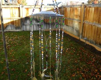 Spoon wind chime - glass plate windchime - silver vintage spoons - funky garden art - yellow, purple, green, white glass beads - steampunk