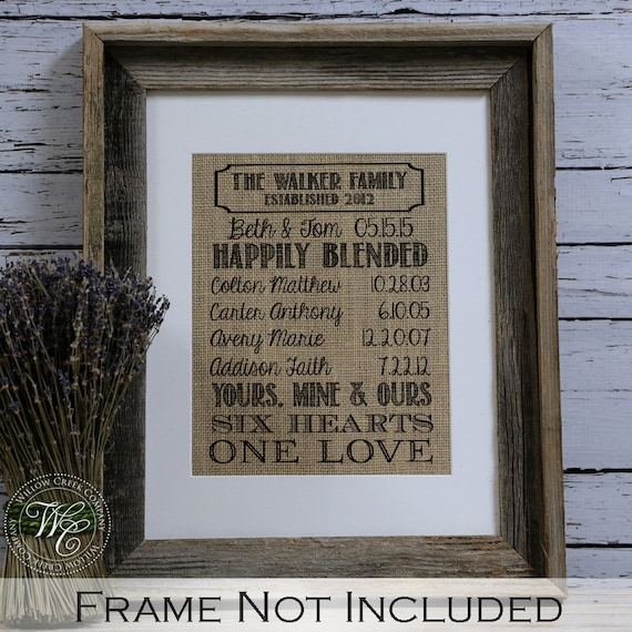 Wedding Gift Ideas For Remarriage : Blended family wedding gift family name sign established blended ...