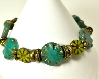 Aqua & Green Czech Glass Bracelet
