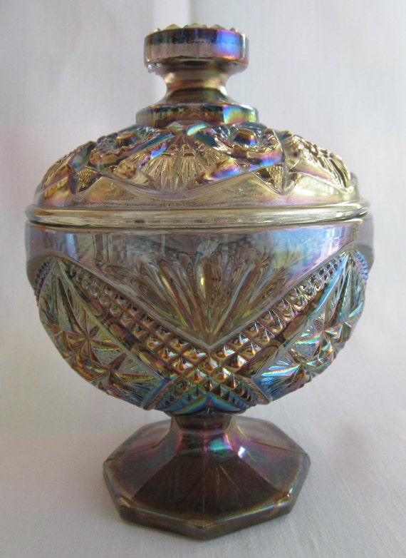 imperial eastern star carnival glass compote with lid
