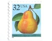 10 Unused Pear Postage Stamps // Vintage Unused 32 Cent Pear Stamps