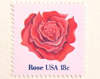 Vintage Red Rose Stamps TEN Unused 18c Postage Stamps Issued 1981