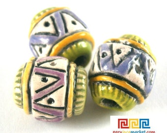 10 Peruvian ENGRAVED CARVED TEXTURED ceramic beads nr8