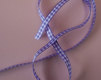 Quality Woven Edge 7mm Lilac Gingham Ribbon