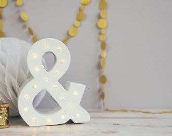 Freestanding marquee letter light, light up ampersand, monogram letter, numbers, ampersand, lights, initial light