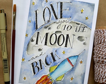 Kids' Birthday Card/ Watercolor Birthday Card/ Children's Art/ Outer Space Card/ Rocket Ship Card/ Moon and Back- 5x7