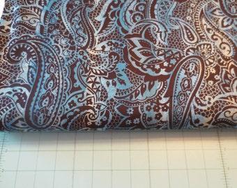 Turquoise paisley print cotton fabric